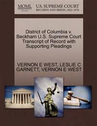 District of Columbia V. Beckham U.S. Supreme Court Transcript of Record with Supporting Pleadings