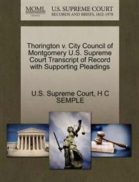 Thorington V. City Council of Montgomery U.S. Supreme Court Transcript of Record with Supporting Pleadings