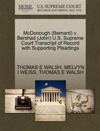 McDonough (Bernard) V. Bershad (John) U.S. Supreme Court Transcript of Record with Supporting Pleadings