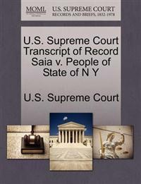U.S. Supreme Court Transcript of Record Saia V. People of State of N y