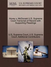 Hovey V. McDonald U.S. Supreme Court Transcript of Record with Supporting Pleadings