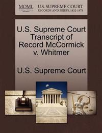 U.S. Supreme Court Transcript of Record McCormick V. Whitmer