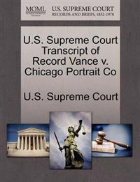 U.S. Supreme Court Transcript of Record Vance V. Chicago Portrait Co