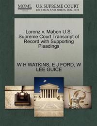 Lorenz V. Mabon U.S. Supreme Court Transcript of Record with Supporting Pleadings