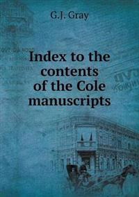 Index to the Contents of the Cole Manuscripts
