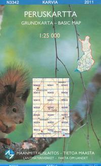 Peruskartta N3342 Karvia 1:25 000