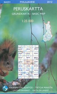 Peruskartta N4231 Pihlajavesi 1:25 000