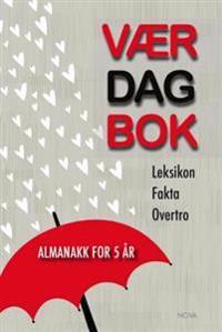 Værdagbok. Almanakk for 5 år. Leksikon, fakta, overtro (rød paraply)