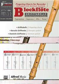 Grifftabelle Fur Blockflote [Fingering Charts for Recorder]: German / English Language Edition, Chart