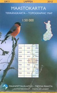 Maastokartta U411 Lappea 1:50 000