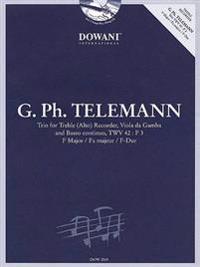 Telemann: Trio for Treble (Alto) Recorder, Viola, & Basso Continuo Twv42 F Major [With CD (Audio)]