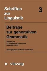 Beitr ge Zur Generativen Grammatik