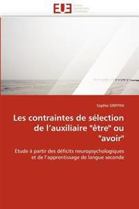 """Les Contraintes de S�lection de l''auxiliaire """"�tre"""" Ou """"avoir"""""""