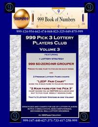 999 Pick 3 Lottery Players Club Volume 3: Featuring SD-Zero-NR Grouper Strategy and 2 Lottery Charts