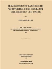 Molossische Und Bakcheische Wortformen in Der Verskunst Der Griechen Und R mer