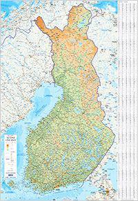 Suomi seinäkartta, 1:1 milj. (83x120 cm)