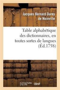 Table Alphabetique Des Dictionnaires, En Toutes Sortes de Langues Sur Toutes Sortes de Sciences
