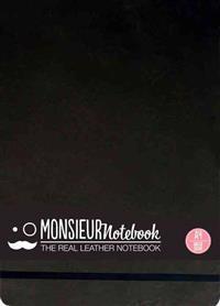 Monsieur Notebook Leather Journal - Landscape Black Watercolor Large