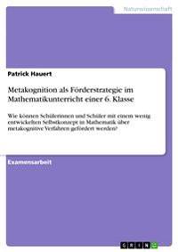Metakognition ALS Forderstrategie Im Mathematikunterricht Einer 6. Klasse