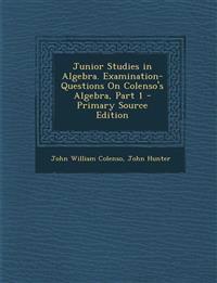Junior Studies in Algebra. Examination-Questions on Colenso's Algebra, Part 1 - Primary Source Edition