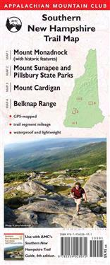 AMC Southern New Hampshire Trail Maps 1-4: Mount Monadnock (with Historic Features), Sunapee and Pillsbury State Parks, Mount Cardigan, and Belknap Ra