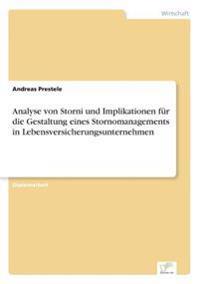 Analyse Von Storni Und Implikationen Fur Die Gestaltung Eines Stornomanagements in Lebensversicherungsunternehmen