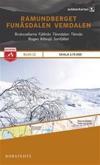Outdoorkartan Ramundberget Funäsdalen Vemdalen : Blad 12 skala 1:75000