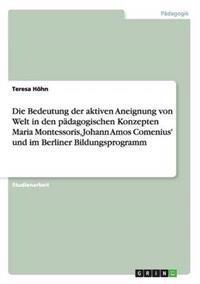 Die Bedeutung Der Aktiven Aneignung Von Welt in Den Padagogischen Konzepten Maria Montessoris, Johann Amos Comenius' Und Im Berliner Bildungsprogramm