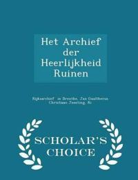 Het Archief Der Heerlijkheid Ruinen - Scholar's Choice Edition
