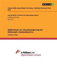 Manahmen Zur Umsatzsteigerung Der McDonalds Deutschland Inc.