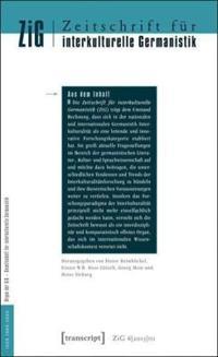Zeitschrift Für Interkulturelle Germanistik Journal of Intercultural German Studies