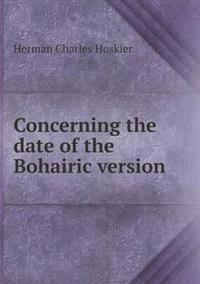 Concerning the Date of the Bohairic Version