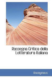 Rassegna Critica Della Letteratura Italiana