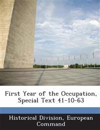 First Year of the Occupation, Special Text 41-10-63