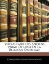 Vocabulaire Des Anciens Noms De Lieux De La Belgique Orientale