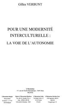 Modernite interculturelle la voie de l'a