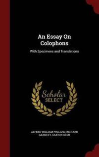 An Essay on Colophons