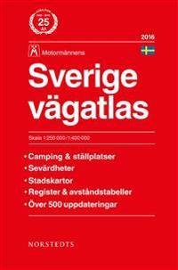 Sverige vägatlas 2016 Motormännen : 1:250000-1:400000