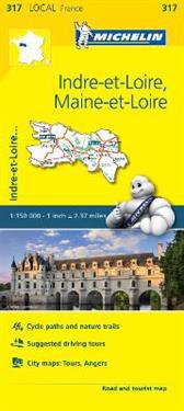 Indre-et-Loire, Maine-et-Loire - Michelin Local Map 317