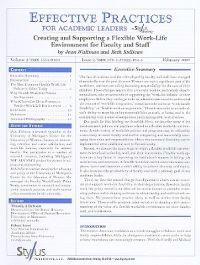 Creating and Supporting a Flexible Work-Life Environment for Faculty and Staff: Issue 2