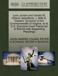 Lynn Jordan and Gerald W. Hyland, Appellants, V. Mills E. Godwin, Governor of the Commonwealth of Virginia, et al. U.S. Supreme Court Transcript of Record with Supporting Pleadings