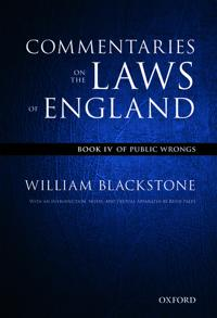 The Oxford Edition of Blackstone's: Commentaries on the Laws of England: Book I, II, III, and IV Pack