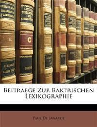 Beitraege zur baktrischen Lexikographie