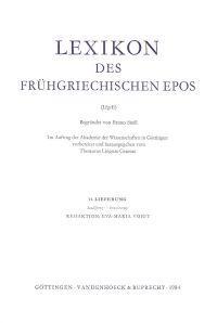 Lexikon Des Fruhgriechischen Epos Lfg. 11