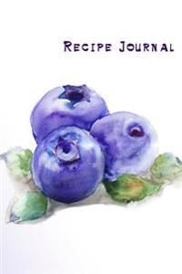 Recipe Journal: Watercolor Blueberries Cooking Journal, Lined and Numbered Blank Cookbook 6 X 9, 180 Pages (Recipe Journals)