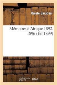 M moires d'Afrique, 1892-1896
