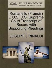 Romanello (Francis) V. U.S. U.S. Supreme Court Transcript of Record with Supporting Pleadings