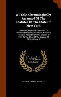 A Table, Chronologically Arranged of the Statutes of the State of New York