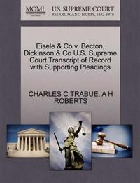 Eisele & Co V. Becton, Dickinson & Co U.S. Supreme Court Transcript of Record with Supporting Pleadings