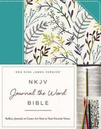 NKJV, Journal the Word Bible, Hardcover, Blue Floral Cloth, Red Letter Edition: Reflect, Journal, or Create Art Next to Your Favorite Verses